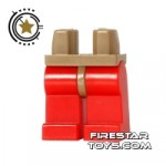 LEGO Mini Figure Legs Red Dark Tan Hips