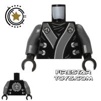Lego New Black Torso Ninjago Robe with Gray Silver Sash Pattern Cole Ninja Part