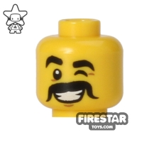 Lego New Yellow Minifigure Head Male Black Eyebrows Smile with Red Tongue Out