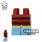 LEGO Mini Figure Legs Dark Red and Sand Blue